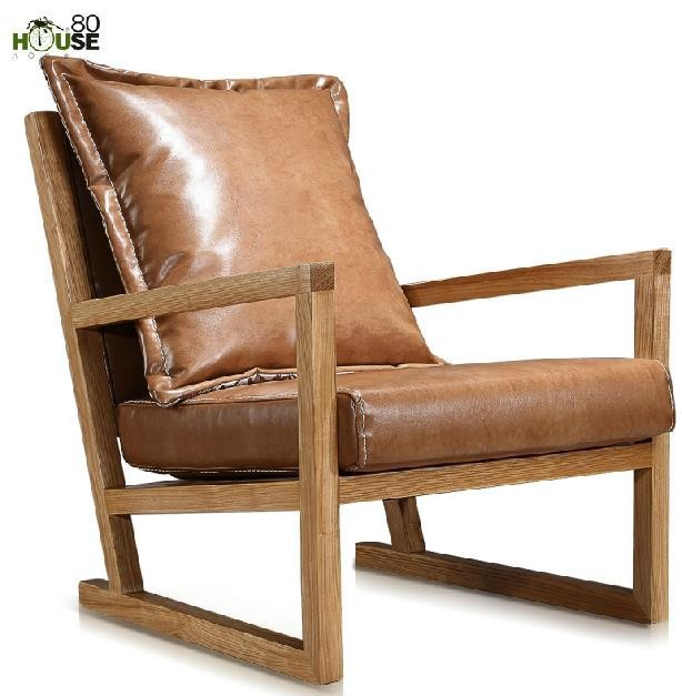 Elegant Buy Simple Modern Furniture / Solid Wood Leisure Chair / Leather Art Single Sofa  Chair In Balcony And Living Room / Computer Chair 3 In Cheap Price On ...