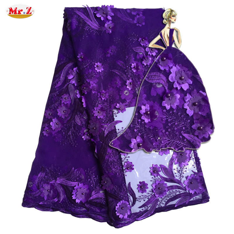 Mr.Z 3D Flower Lace Embroidered Fabric