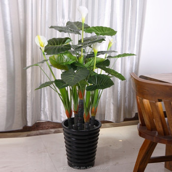 Real Touch Whole Wedding Indoor Decorative Artificial Calla Lily Flower Plant Arrangement