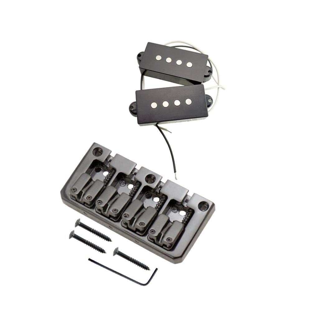 MagiDeal 4 String Hardtail Bridge with PB P Bass Humbucker Pickup for Electric Bass Parts