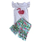 Newborn Baby Girl Clothes Set Bulk Wholesale Kids Clothing Ruffle Top Shorts 2 Pieces Set