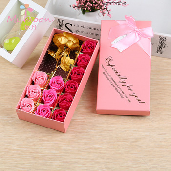 Romantic Girlfriend Birthday 12 Gold Foil Rose Scented Soap Flower Gift Box