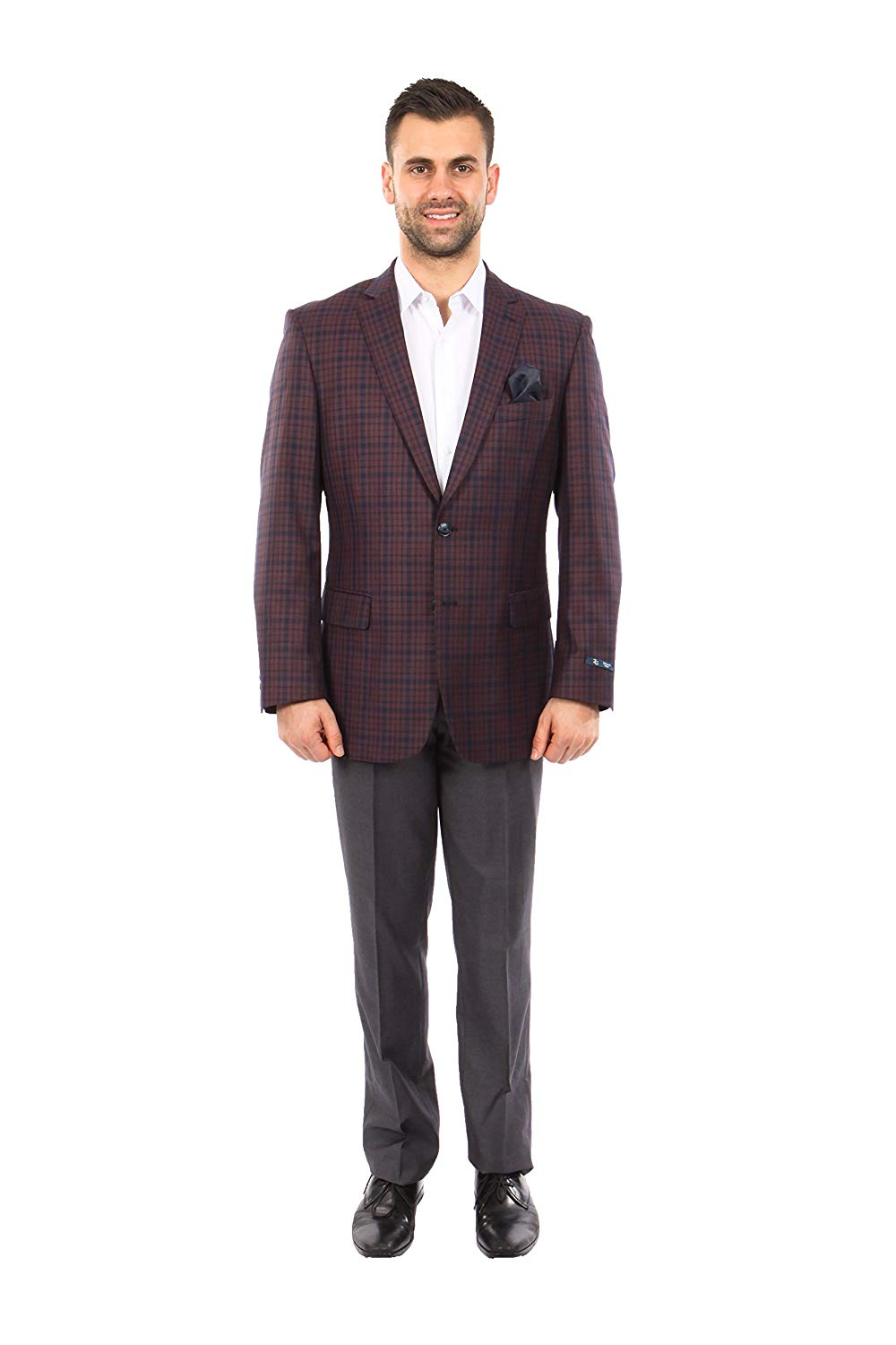 TAZIO Mens Jacket Modern Fit Check Plaid Blazer Sports Coat