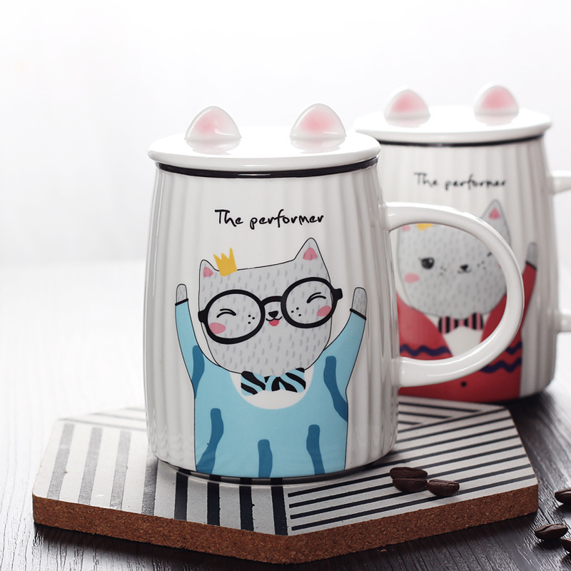 Buy Ceramic Pussy Lid Student Coffee cat Cat Ceramics Cups Funny Cartoon Fashion Cute Breakfast Mug Lovely Personalised Milk Mugs Big Stripe UqSMGVpz