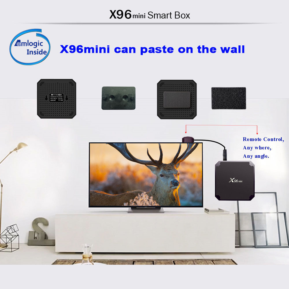 Google Hot Search 4K TV Set-Top Box X96 Mini 2/16GB Master Chip S905W Android 7.1 with 2.4Ghz wifi