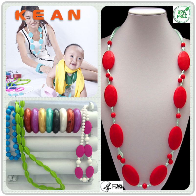 Jewelry For Baby/Candy Food-safe Chew Bead Baby Enjoy Sensory Chunky Silicone Nursing Teething Necklaces