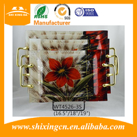 3 pcs set handicraft retangular decorative glass serving tray /plate for food and fruit
