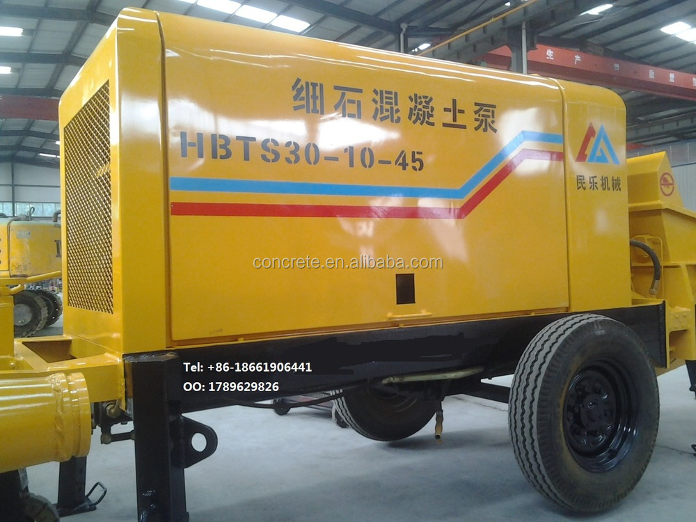 sale portable diesel motor concrete pump has 80m3/h with the best power,pumping,electric control, lubrication,hydraulic system