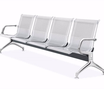 Attirant Steel Bench Seating Public 4 Seater Airport Waiting Chair