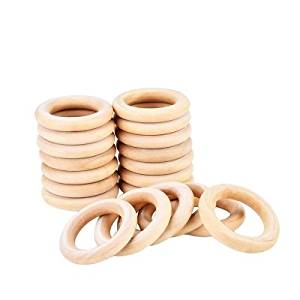 Wood Rings 20 Pack 55mm Wood Rings Wooden Rings for Craft, Ring Pendant and Connectors Jewelry Making by ppstore99
