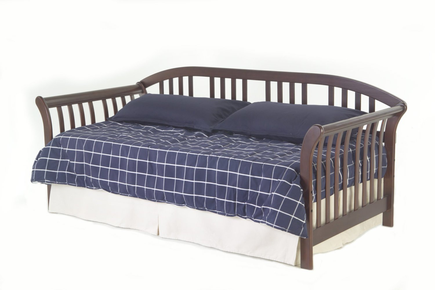 Fashion Bed Group Salem Complete Wood Daybed with Euro Top Spring Support Frame and Pop-Up Trundle Bed, Mahogany Finish, Twin