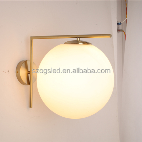 Contemporary Cheap Price Bronze Factory E27 Bulb Light Milk White Glass Iron Bracket Ul Ball Wall Washer Lamp for Hotel Home