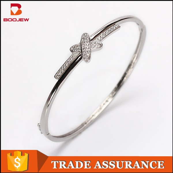 Wholesale fashion zircon stone jewelry Sterling 925 silver butterfly shape jewelry bracelet charms friendship band for girls