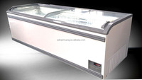sliding glass door supermarket showcase island freezer chest