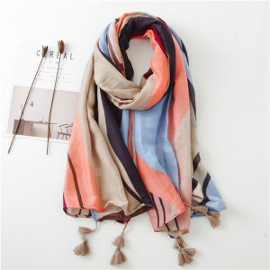 Hot Sale Stylish Women Polyester Tassel Muslim Scarf Women Hijab