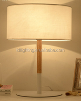 White black color Modern wooden wood table lamp Iron metal table lamp