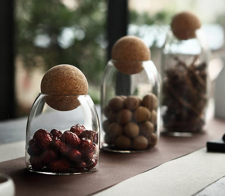 Hot sales glass jar with Ball shape cork lid