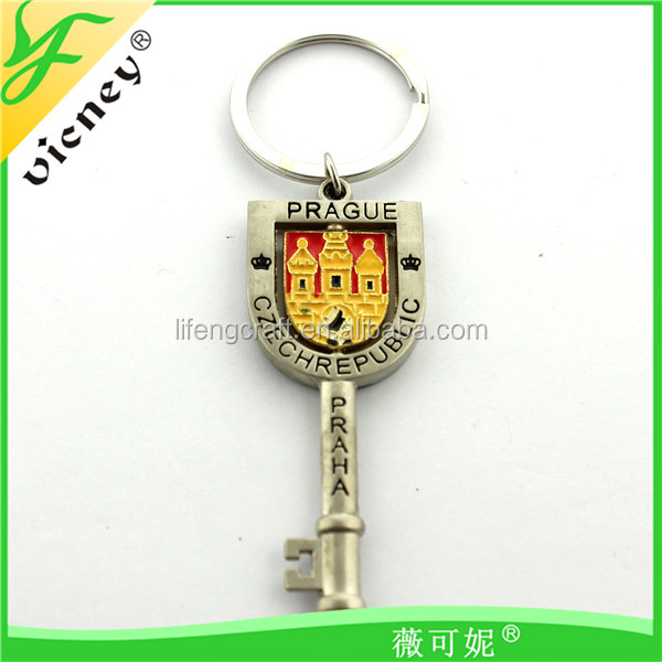 Praha Custom Metal Souvenir fancy Decoration rotary keychain With Business Gifts