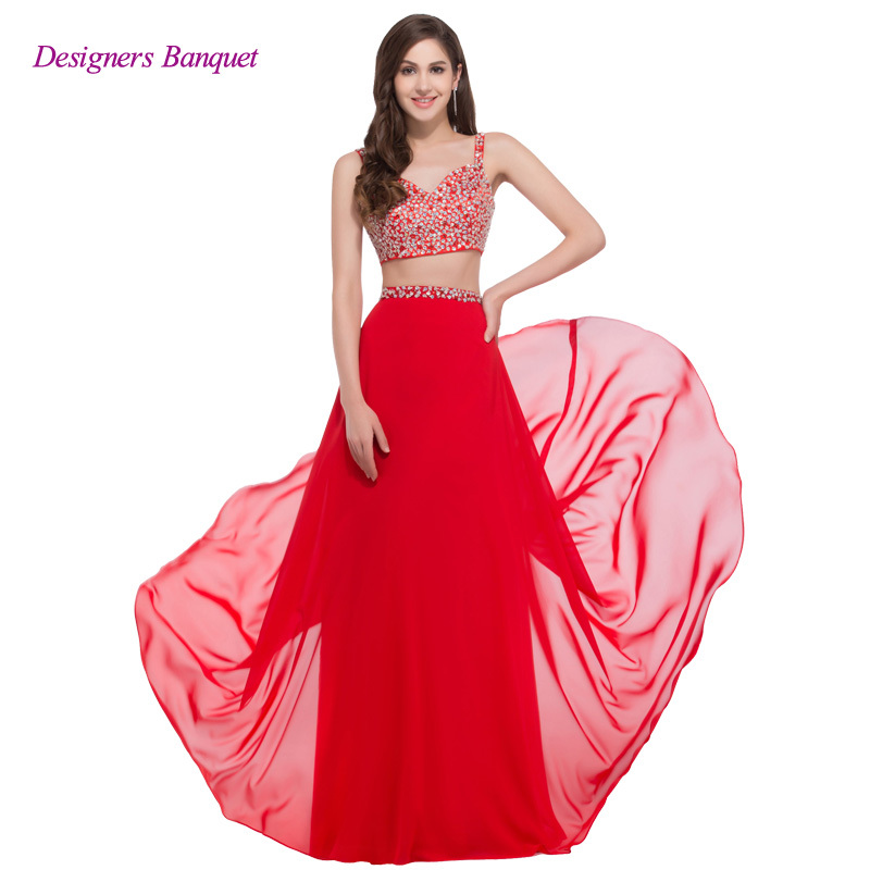 Buy High Quality Women Chiffon Flowing Long Sexy Prom Dresses Two