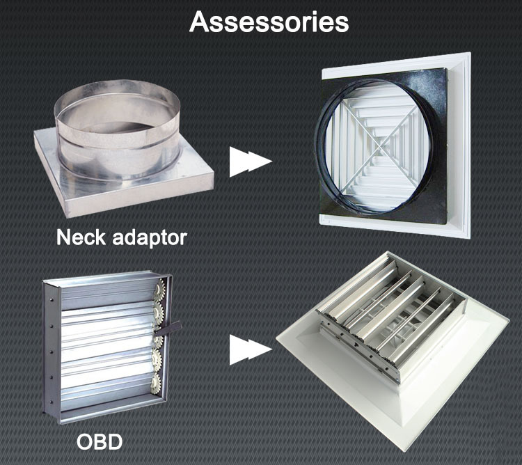 Square Air Diffuser Ceiling Air Conditioning Grilles