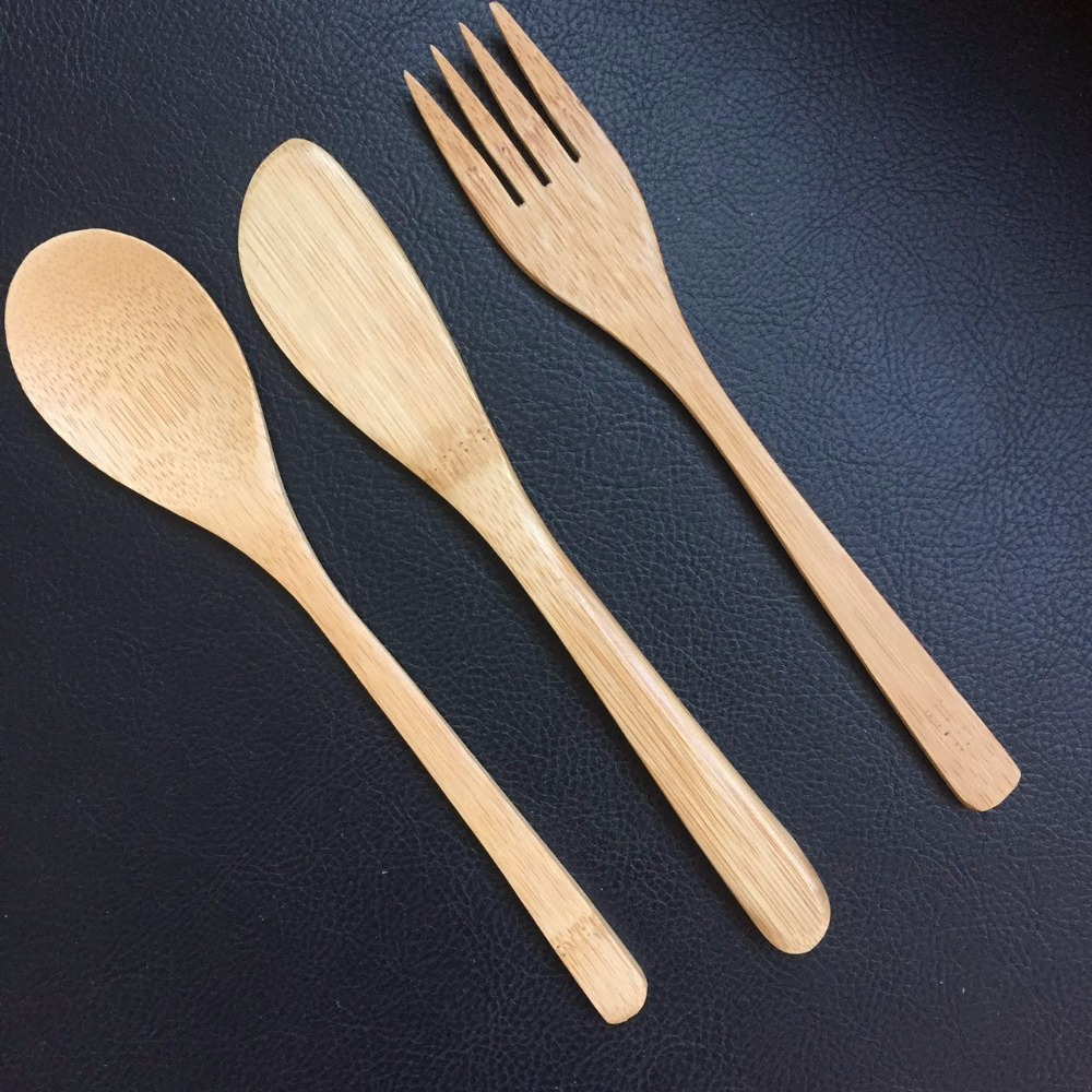 Promotional biodegradable bamboo cutlery spoon fork and kinfe set