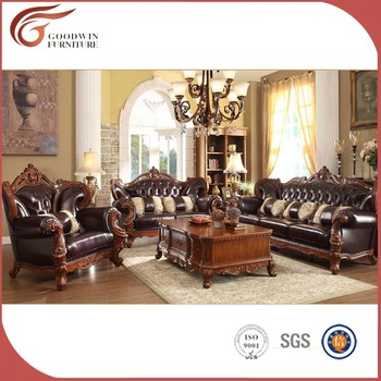 Living Room Classic Luxury Leather Sofa Set A89