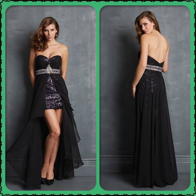 Prom Dress With Detachable Train: Detachable Train Evening Dresses Sequins Short Evening