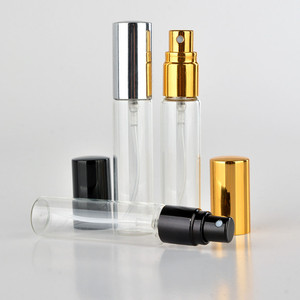wholesale cosmetics perfume 3ml 5ml 10ml glass bottle with golden/silvery/black cap