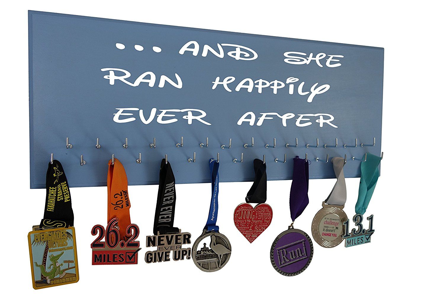 """Running on the Wall Medal Hanger Display and Race Bibs """"IT NEVER GETS EASIER, YOU JUST GET STRONGER"""" Medals Only Design"""