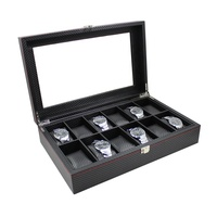 Custom Clear Window Luxury Pu Leather 12 Slots Wrist Watch Packaging Display Box