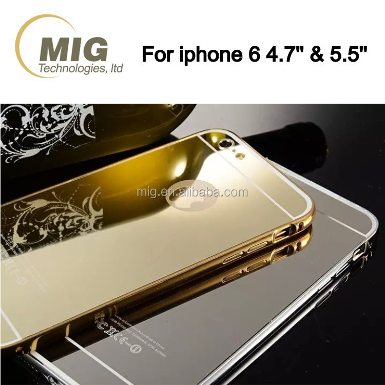 Mirror surface Aluminum metal bumper mobile phone case for iphone6 case shockproof back cover for iphone 6