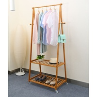 Bedroom Bamboo Clothing Garment Rack Wooden Hanging Clothes Rack With 2-Tier Storage Shelves