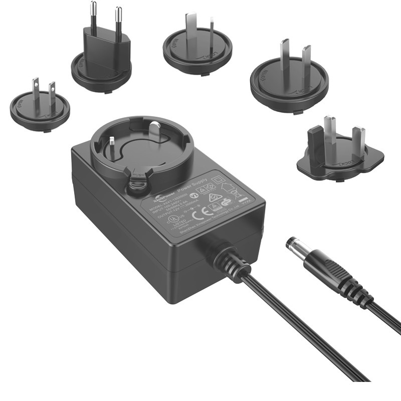 24W Interchangeable plugs power <strong>adapter</strong> wall mounted with EN60950 EN60065 EN61347 compliant