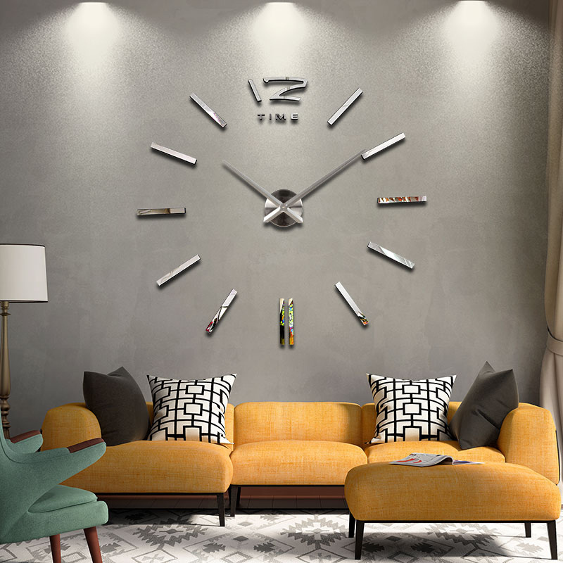 2016 new arrival 3d home decor quartz diy wall clock clocks horloge watch living room metal