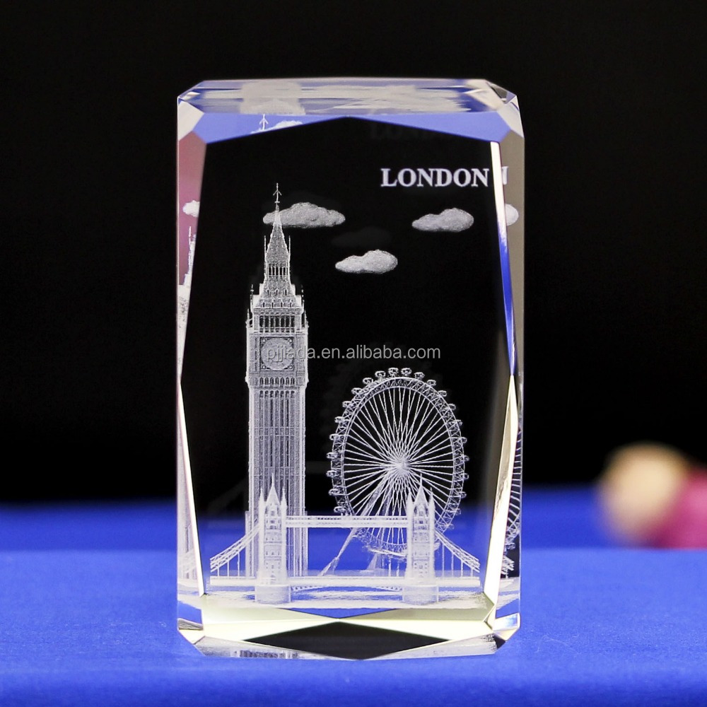 3 D Laser engraving K9 crystal glass cube London model crafts paperweight quartz crystal gifts