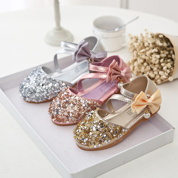 Korean fashion dance sequins girl shoes party wear bowknot children girl  shoes