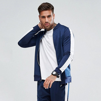 New Style Tracksuit With Stripe Detail In Navy Mens Gym Tracksuit