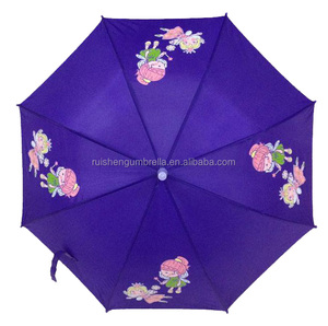Rain walker promotional kids umbrella with logo printing and plastic cap