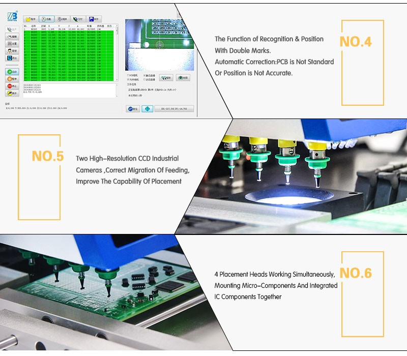 4 Head Led Light Production Line With Servo Motor Smt Pick And Place Machine Smt330 Pick And Place Smt Desktop Low Cost Welding Nozzles