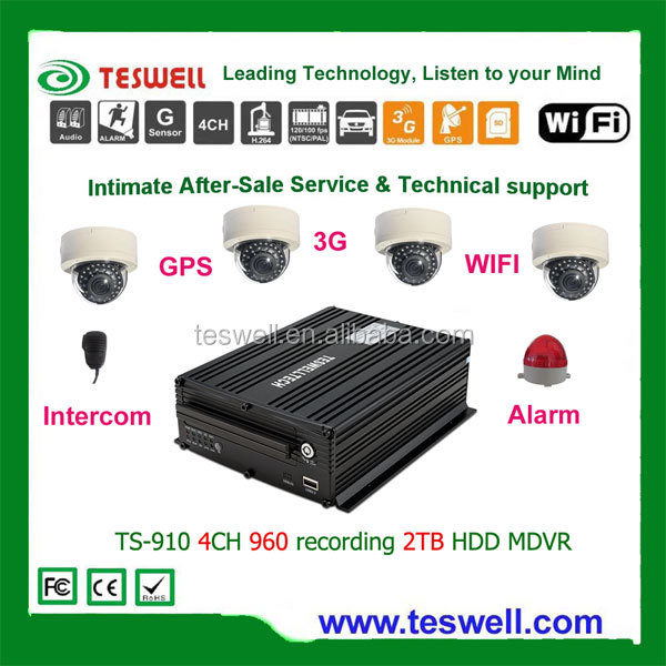 4CH D1/960 H full real-time recording 3G WIFI GPS 2TB HDD CCTV <strong>DVR</strong>
