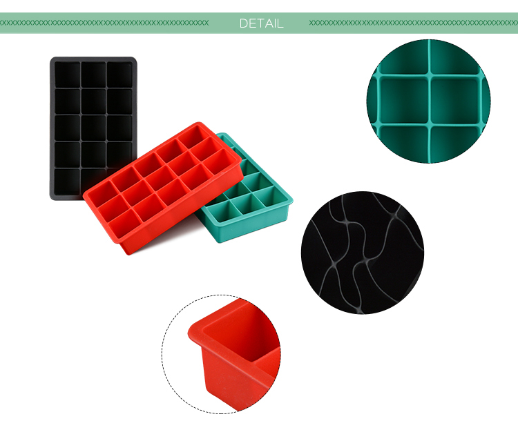 Amazon Hot Sale 15 Cavity Custom Square Shape Silicone Ice Cube Tray