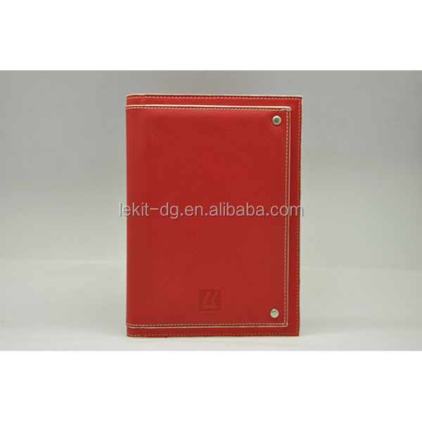 Red pu leather cover double wire notebook with large pouch