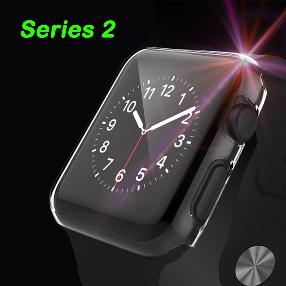 [2 Pack] PC Apple Watch Case, Fivefish iPhone Watch PC Screen Protector Full Coverage All-around Protective 0.3mm Ultra-thin Cystal Clear Hard Cover for i Watch All Models 2015 – Apple Watch Case 38MM