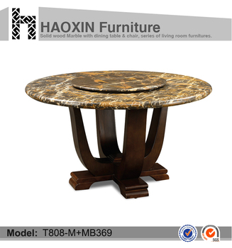 No Folded Modern Natural Marble Wood Round Dining Table Restaurant