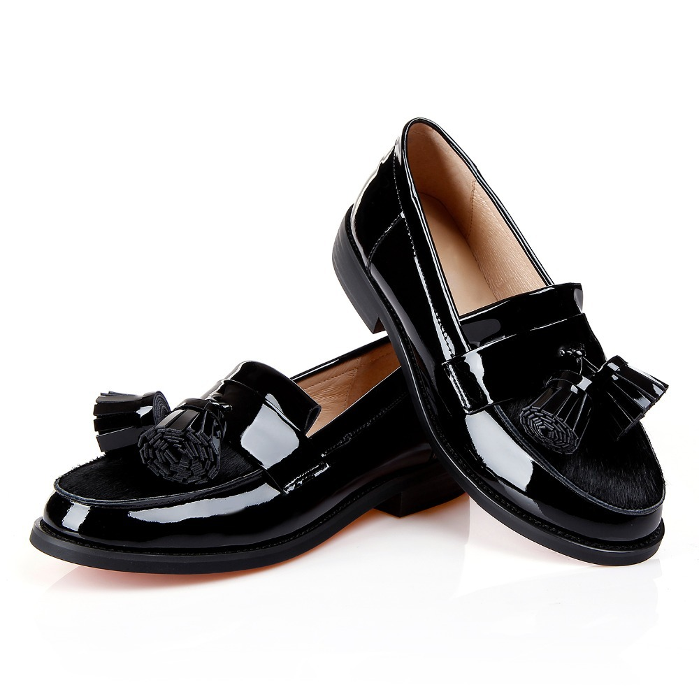 b76bfa63fde8 Get Quotations · Sexy Tassel horsehair genuine Patent leather Women Black  square low heels shoe Oxford Shoes for Woman