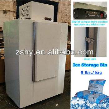Freezing ice storage bin with digital temperature control