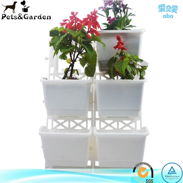 Disassembled plastic square plant pot, low price custom printed logo flower pot