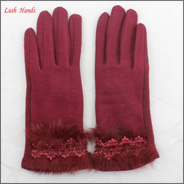 ladies cheap spring driving red micro velvet hand gloves with rabbit fur