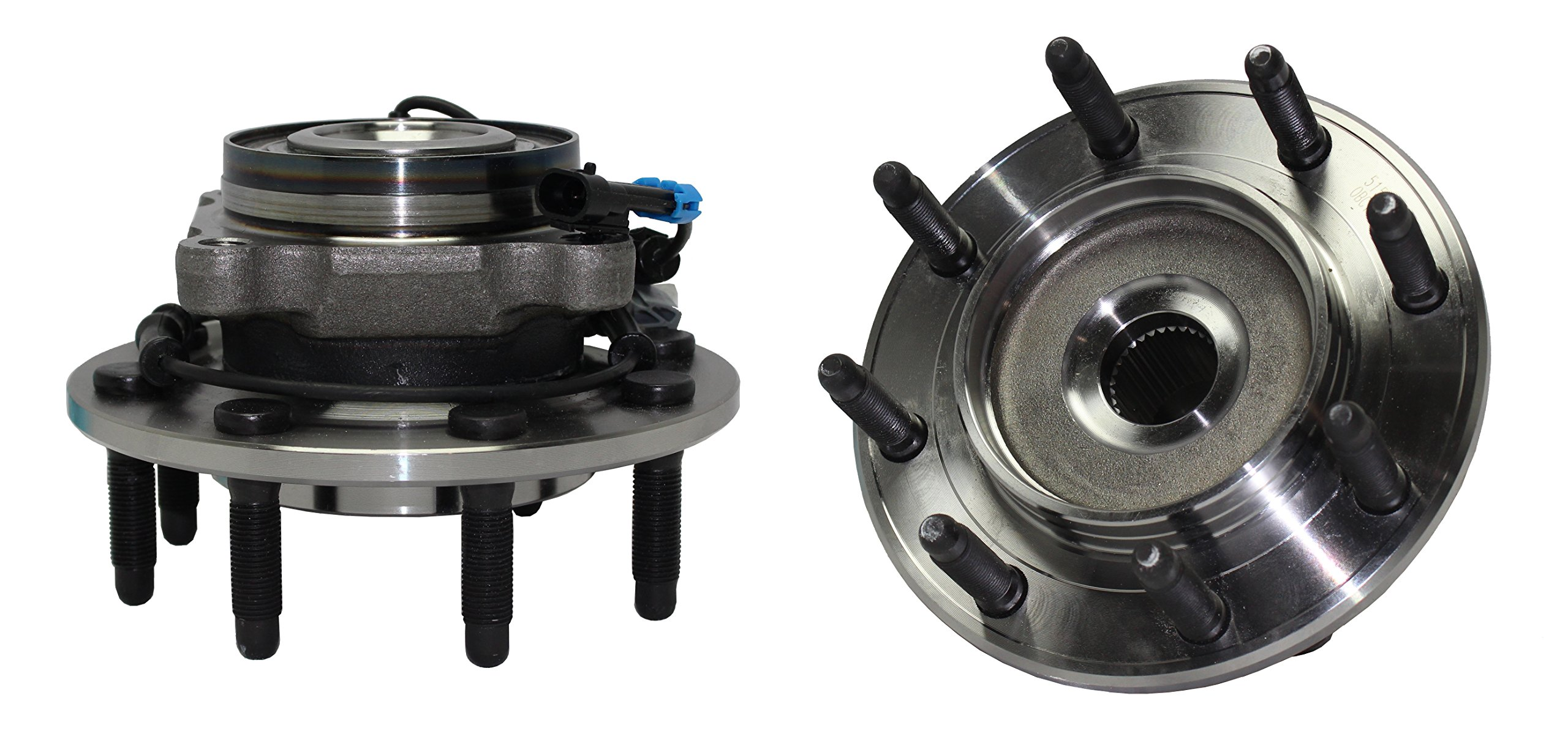 Detroit Axle - Front Wheel Hub and Bearing Assembly Pair - 8 Bolt W/ABS 515098 x 2 Not For Classic Body - 2007-2010 Silverado/Sierra 2500HD - [07-09 Silverado/Sierra 3500]