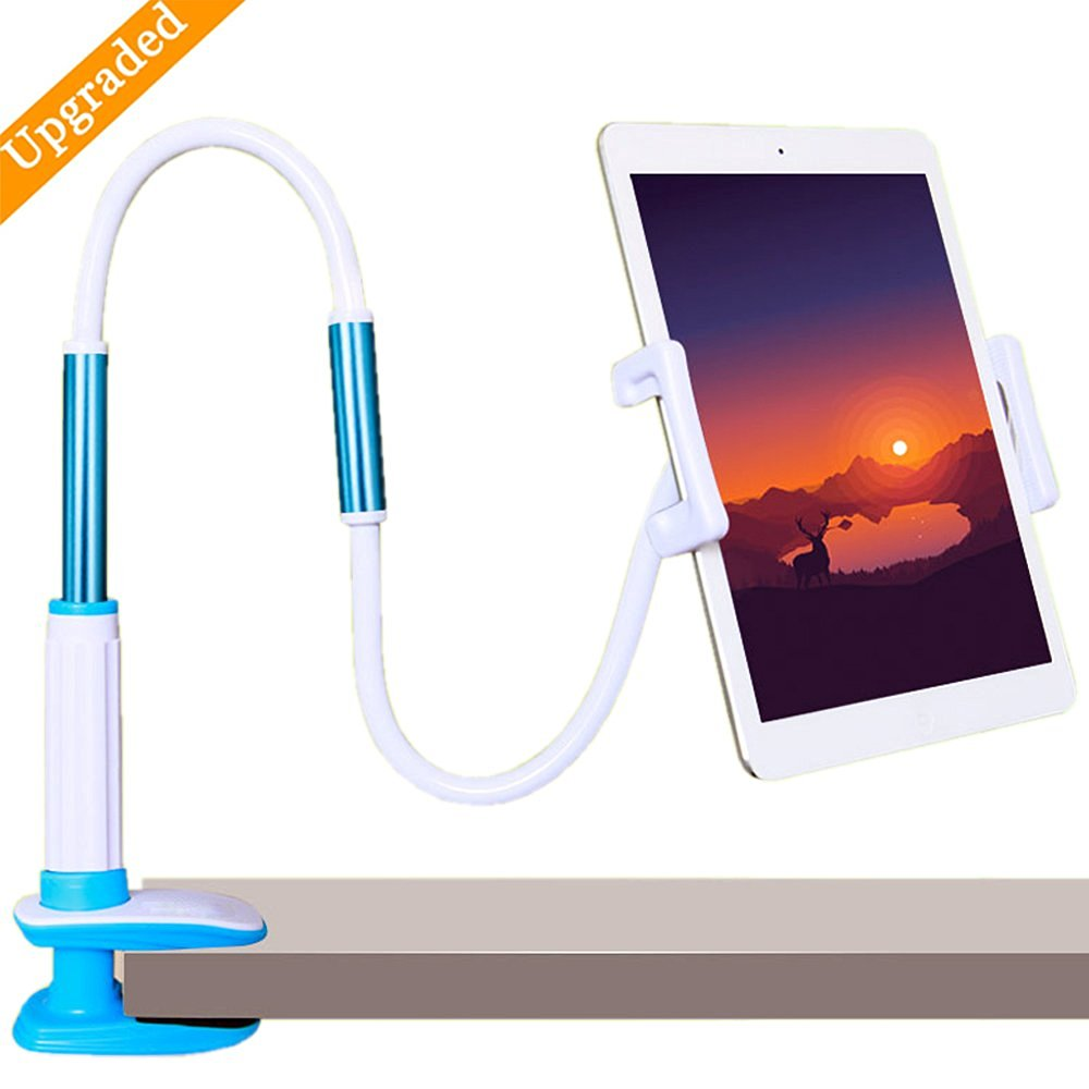 Etubby Upgraded Universal Gooseneck Lazy Tablet Stand / Cellphone Mount, 360-Degree Rotation / 47-Inch Flexible Arm Adjustable Hands-free Bolt Clamp Holder Stand for 4-12 Inches Devices - White/Blue